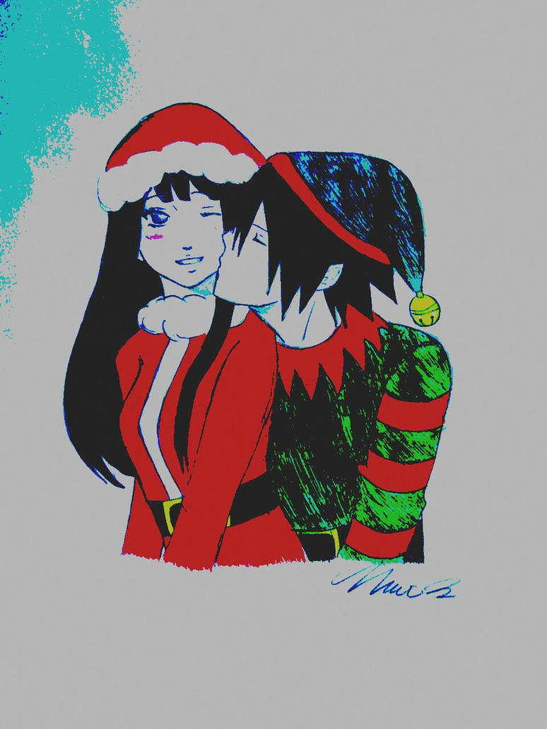 Christmas Love (digitally colored) by xILoveSasukeUchihax