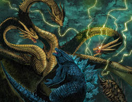 Godzilla Vs King Ghidorah (colored) by ChristianWillett