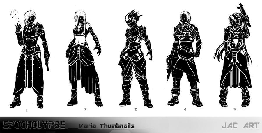 Character Design Thumbnails : Character thumbnails by joshcalloway