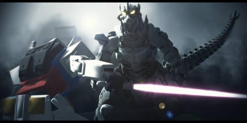 Gundam vs Mecha Godzilla by Mr-Mecha-Man