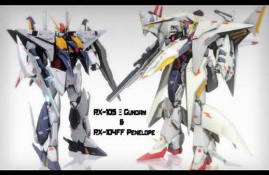 RX-105 XI Gundam and RX-104FF Penelope Gundam