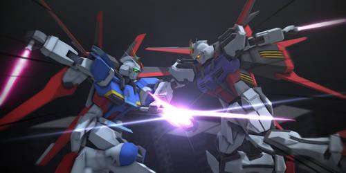Force Impulse Gundam vs  Aile Strike Gundam