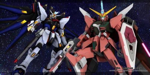 Strike Freedom Gundam and Infinite Justice Gundam by Mr-Mecha-Man