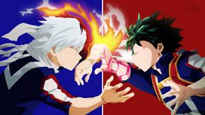 Todoroki and Deku from Boku no Hero Academia by KuroNekoIsAwesum