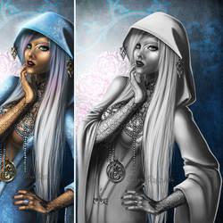 Priestess--Black and White