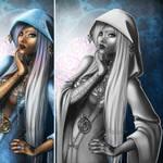 Priestess--Black and White by Cyzra