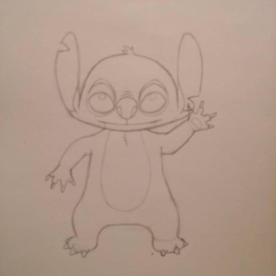 Stitch Waving (Pencil Sketch) by HollowDrake92