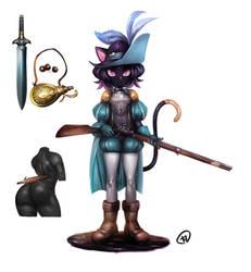 Musketeer black cat (adoptable)