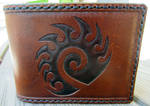 Starcraft Zerg Symbol Leather Wallet close up