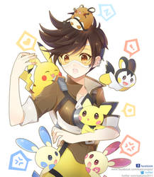 Tracer with Pokemon by sakuno291