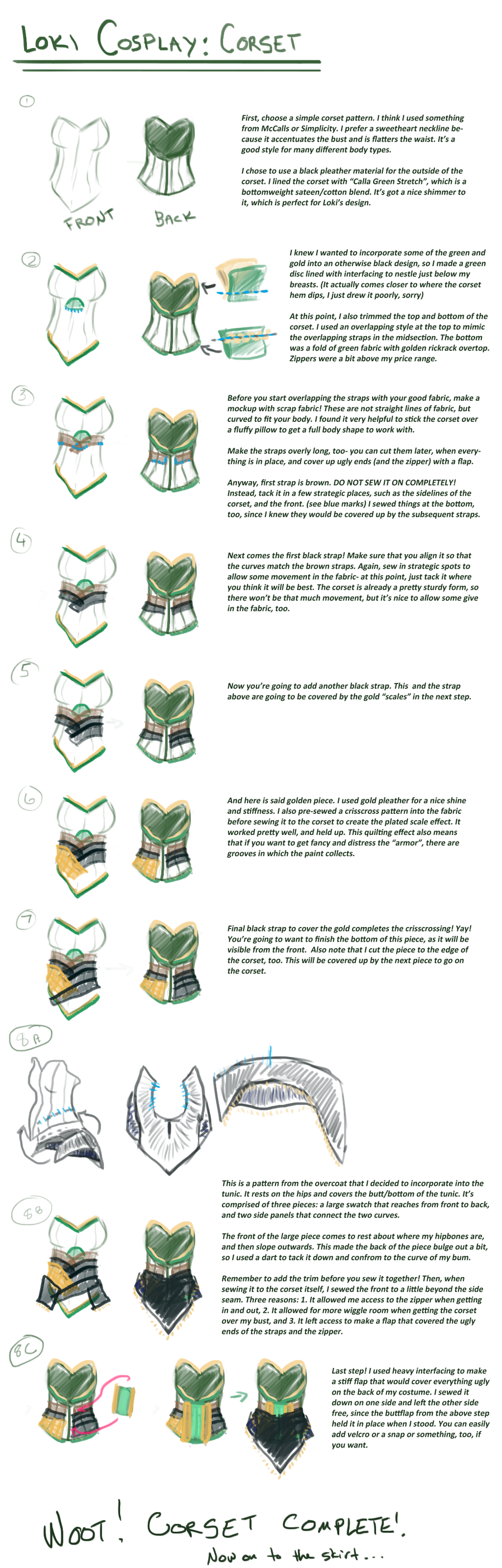 Loki cosplay guide: Corset by SirLadySketch