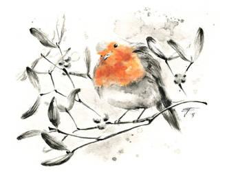 Robin and Mistletoe by FrancescaBaerald