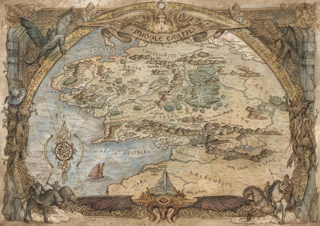 Map of Middle Earth -  Lord of the Rings by FrancescaBaerald