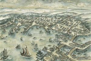 L5R - Slow Tide Harbor Map by FrancescaBaerald