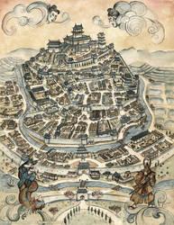Peaceful Hill City - L5R Map by FrancescaBaerald