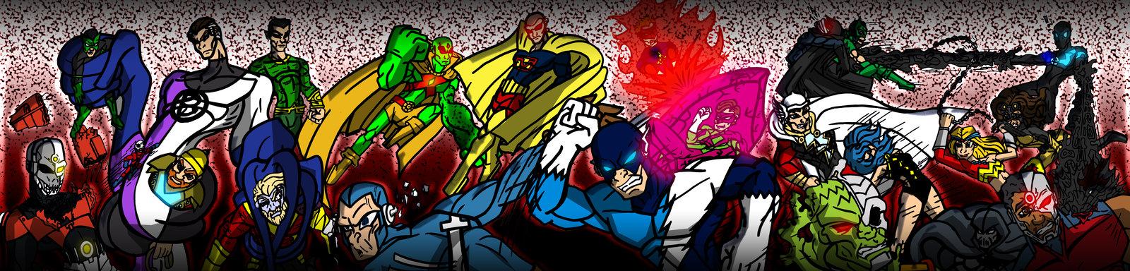 Amalgam Justice League vs Amalgam Crime Syndicate by Comicboy02