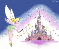 Tinkerbelle and Disney castle by AgiVega