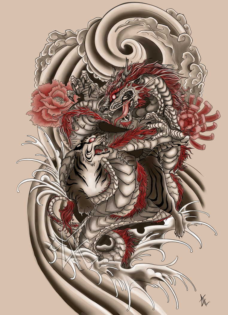 Japanese tattoo commission by beautiful beasties on deviantart for Japanese tattoo art