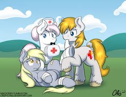 :Commission: Tending to her ouchies by NekoCrispy