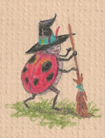 Six-spotted Micro-witch (with broom) by metasilk