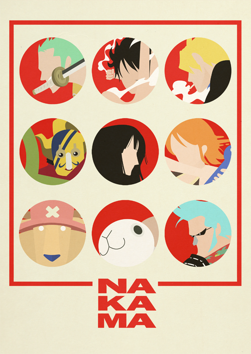 One piece minimalist poster nakama by minimallyonepiece for Minimalisme art