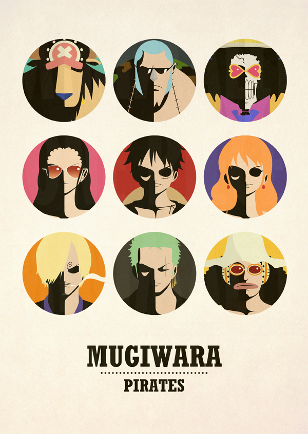 One piece minimalist poster mugiwara pirates v2 by for Minimalist art pieces