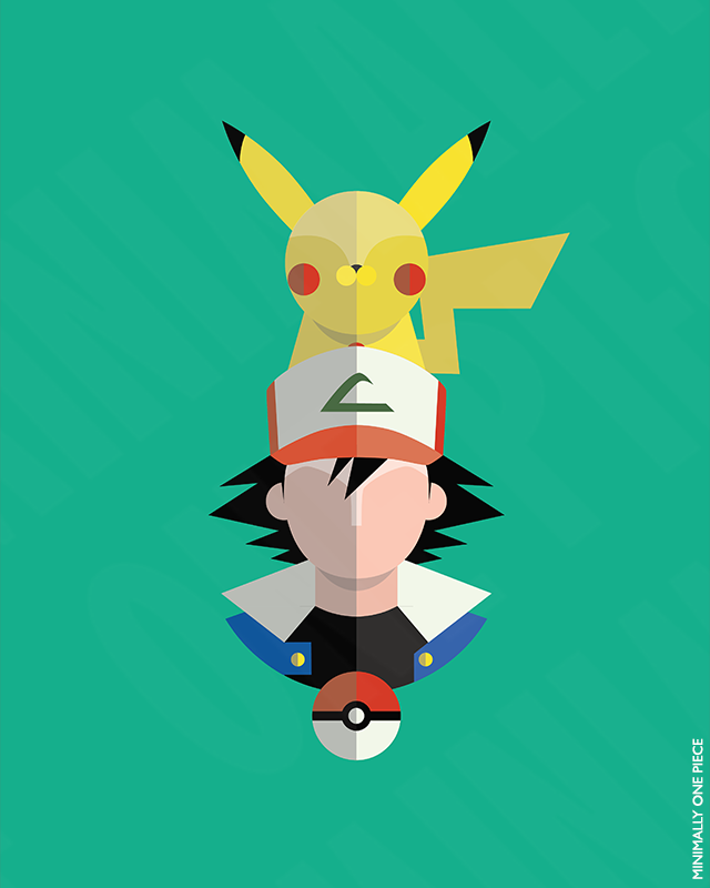 Pokemon: Ash and Pikachu by MinimallyOnePiece