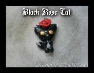 Black Rose Cat Charm