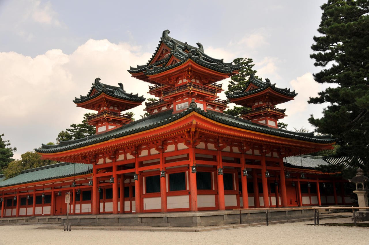 Red pagoda at the heian jingu by andyserrano on deviantart for Architecture celebre