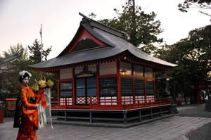 Geisha and Matsumoto Shrine by AndySerrano