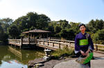 Matsumoto Lagoon Bridge Lime Obi Fan and Koi