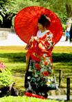 Lady with Kimono and Parasol