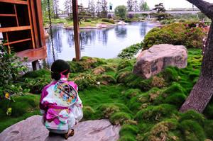Japanese Girl Garden Lake Shinkansen