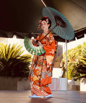 Japanese Dancer with Fan and Parasol