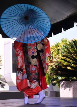 Japanese Dancer Behind Parasol