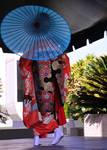 Japanese Dancer Behind Parasol