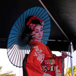 Japanese Dancer in Front of Parasol