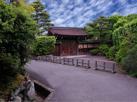 Japanese Gate and Road in Kyoto