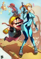 Super Smash Bros WII U - Samus VS Wario by oNichaN-xD