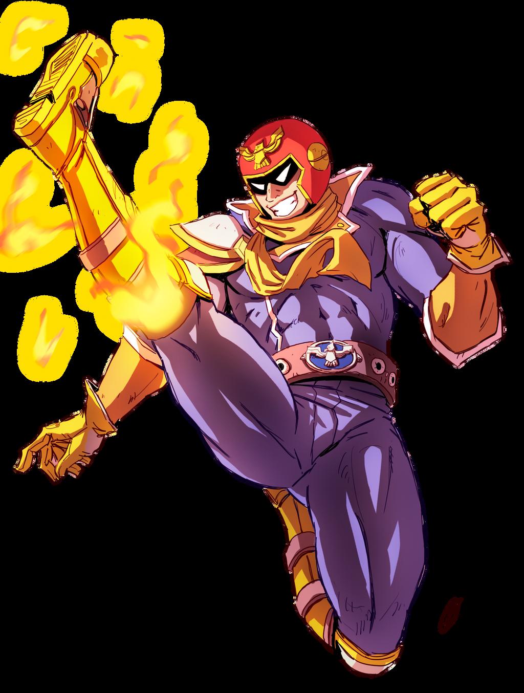 Captain Falcon - Falcon Kick [SPEEDPAINT] by oNichaN-xD