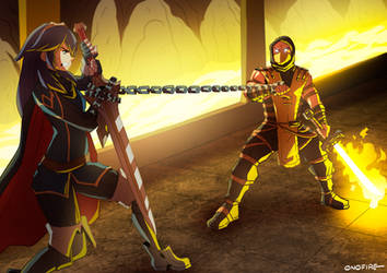 Commission - Lucina Vs. Scorpion by oNichaN-xD