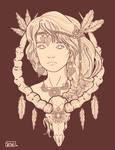 Shaman Girl-line art
