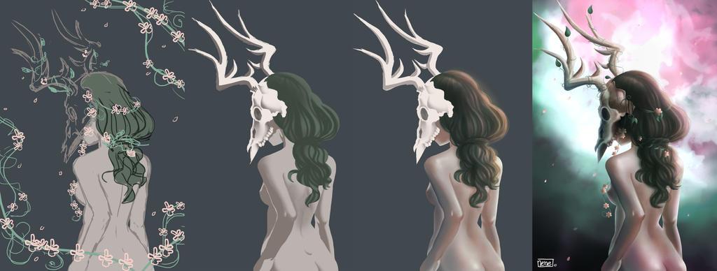 Steps Lady Deer Skull by not-nene
