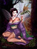 Geisha Faerie and Dragon by rebelakemi