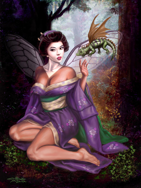 Geisha Faerie and Dragon by rebelakemi