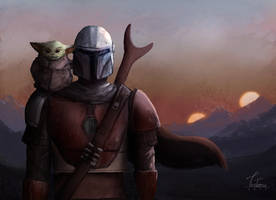 Mandalorian and Baby Yoda by TiroTetsu