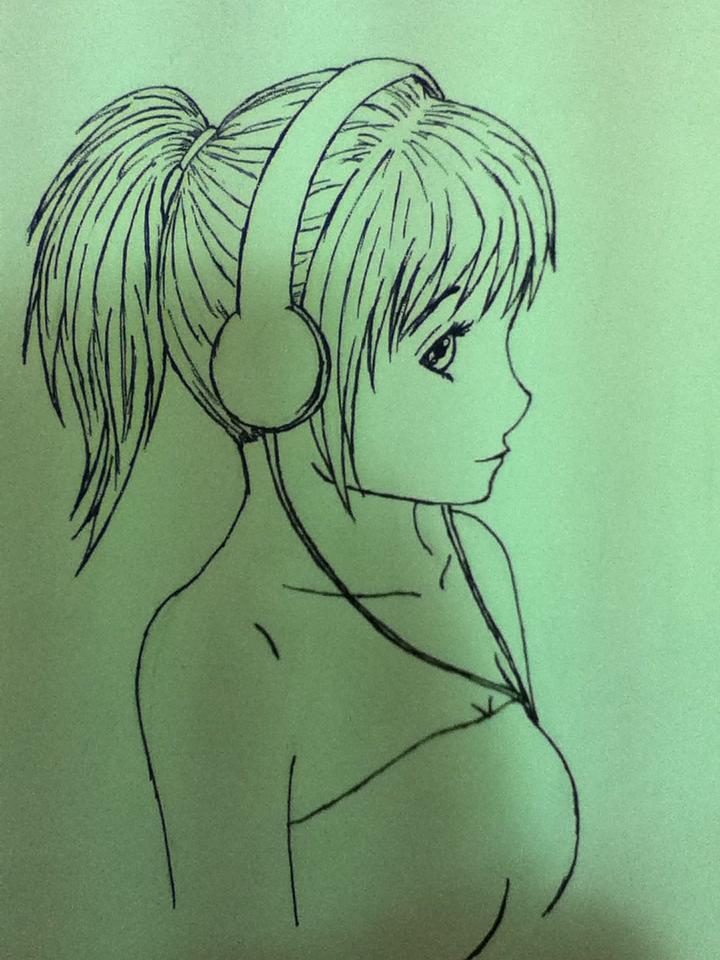 Anime girl with headphones line drawing by jade13kiki on ...