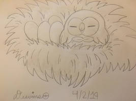Rowlet sleeping (WIP) by Deevins