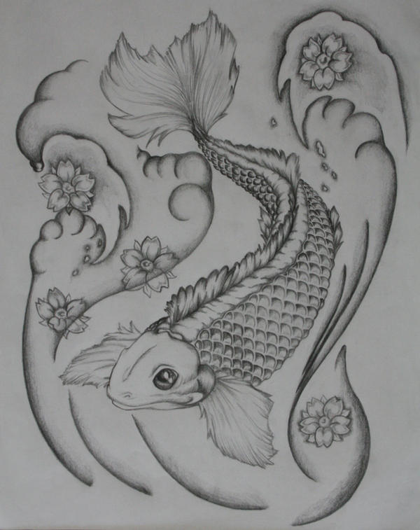 Koi fish tattoo designs black and white 1 koi tattoo for Black white koi