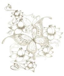 butterfly tattoo by BullettKat17